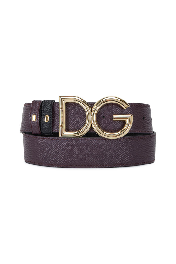 Dolce & Gabbana Black & Burgundy Leather Reversible Logo Belt