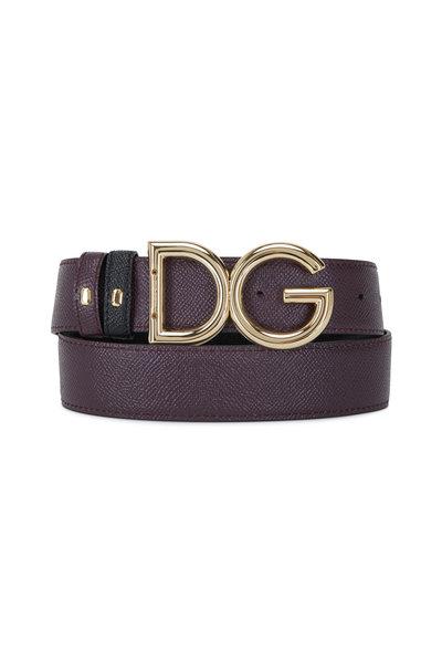 Dolce & Gabbana - Black & Burgundy Leather Reversible Logo Belt