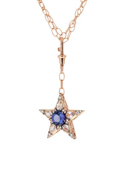 Selim Mouzannar - 18K Rose Gold Diamond & Tsavorite Cluster Necklace