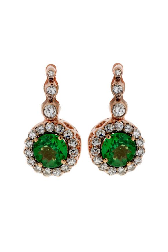 Selim Mouzannar 18K Rose Gold Diamond & Tsavorite Center Earrings