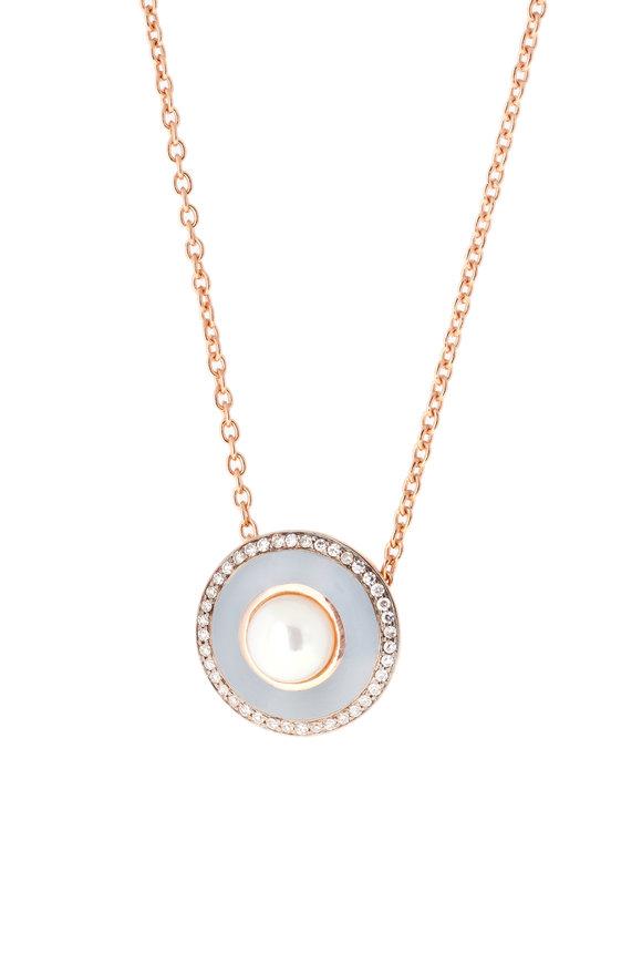 Selim Mouzannar Rose Gold Gray Enamel, Diamond & Pearl Necklace