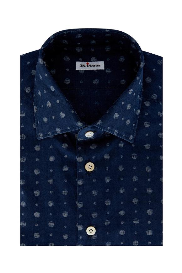 Kiton Chambray Dot Dress Shirt