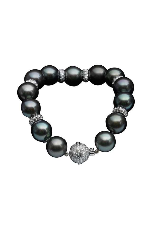 Tahitian Pearl White Gold Diamond Bracelet