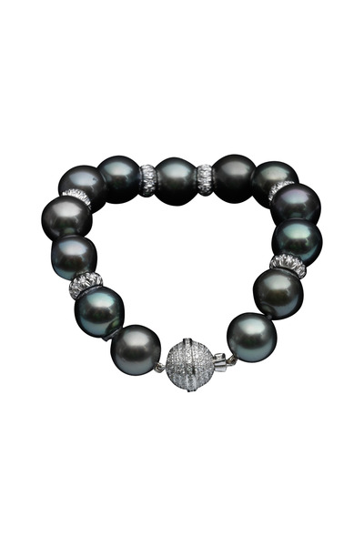 Assael - Tahitian Pearl White Gold Diamond Bracelet