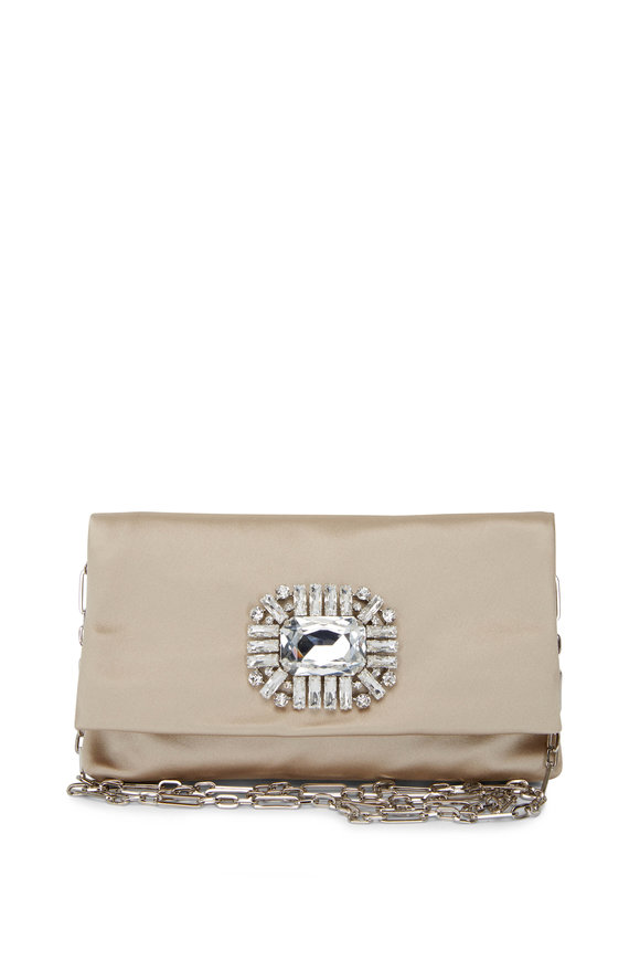 Jimmy Choo Sand Satin Crystal Evening Bag