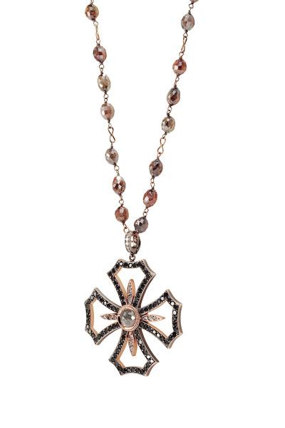 Sylva & Cie - Gold Gray & Rough Diamond Maltese Cross Pendant
