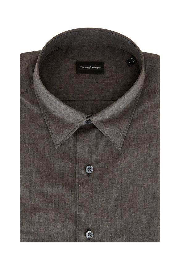 Ermenegildo Zegna Charcoal Gray Classic Fit Sport Shirt