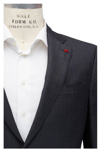 Isaia - Gray Nailhead Pattern & Plaid Wool Suit