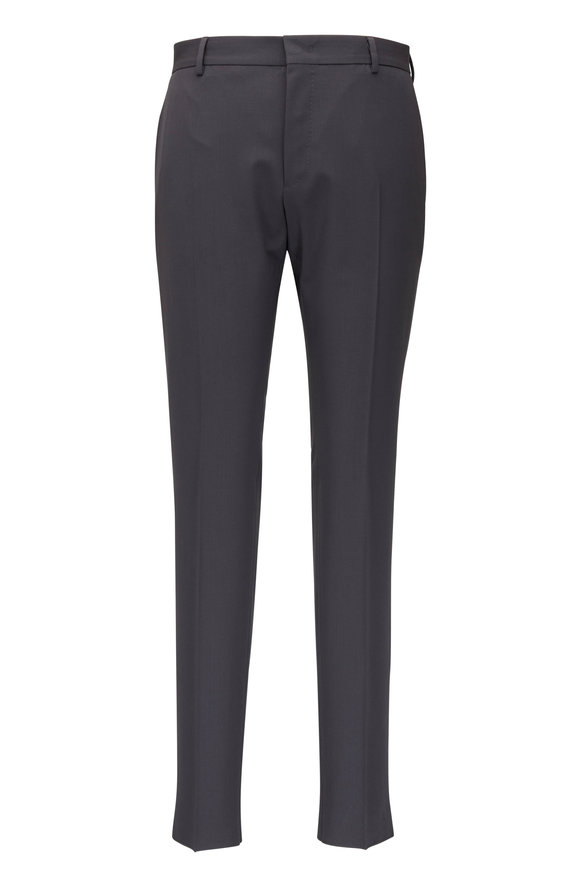 PT Torino Active Gray Stretch Wool Flat Front Pant
