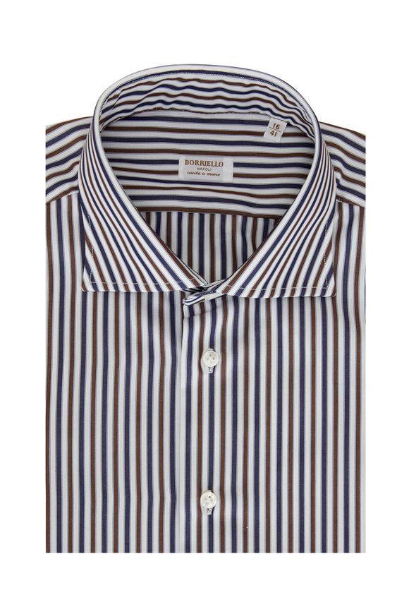 Borriello Brown &n Navy Blue Striped Dress Shirt