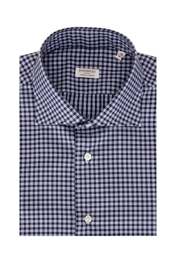Borriello Navy Blue Plaid Dress Shirt