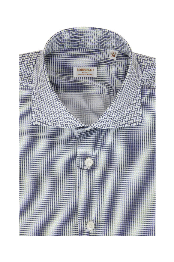 Borriello Navy Blue Micro Square Dress Shirt
