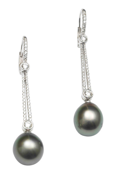 Assael - White Gold Tahitian Pearl Diamond Drop Earrings