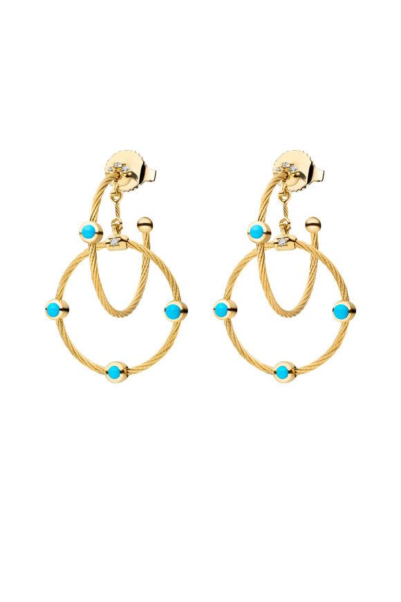 Paul Morelli 18K Yellow Gold Diamond & Turquoise Chain Earrings