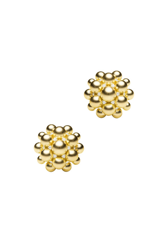 Paul Morelli 18K Yellow Gold Bead Clip On Earrings