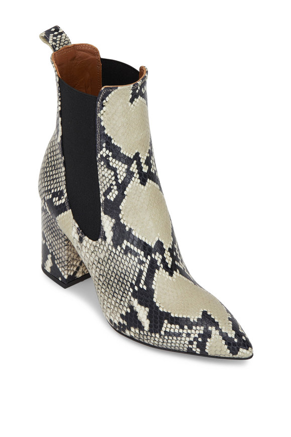 Paris Texas Natural Python Print Stretch Bootie, 80mm