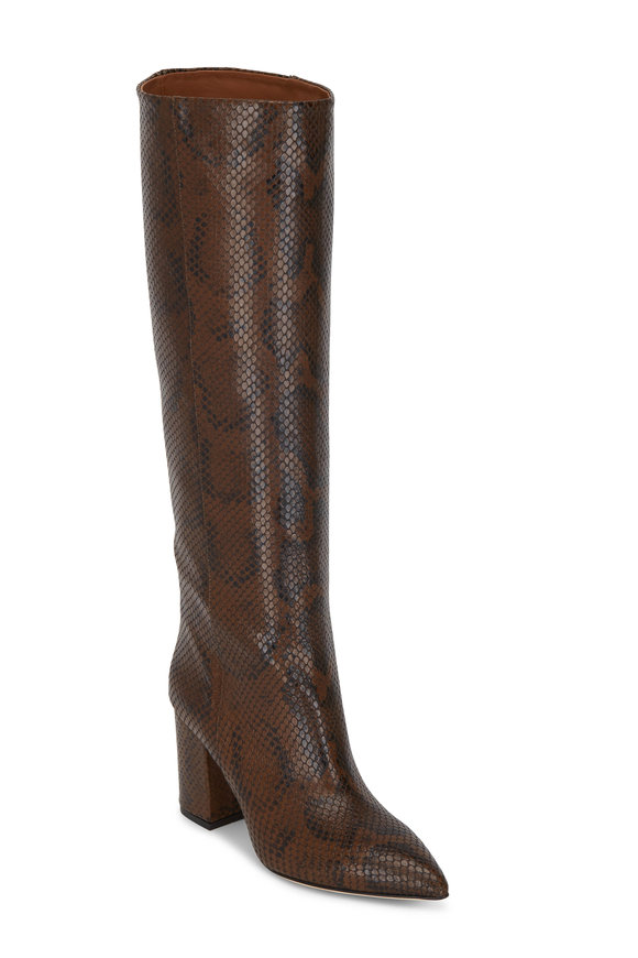 Paris Texas Brown Python Leather Knee High Boot, 80mm
