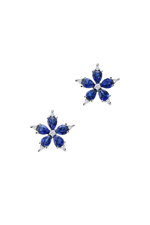 Paul Morelli 18K White Gold Sapphire Stud Earrings