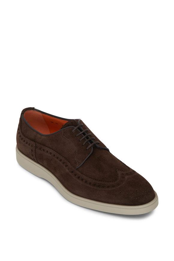 Santoni Rapid Dark Brown Suede Lace Up Shoe