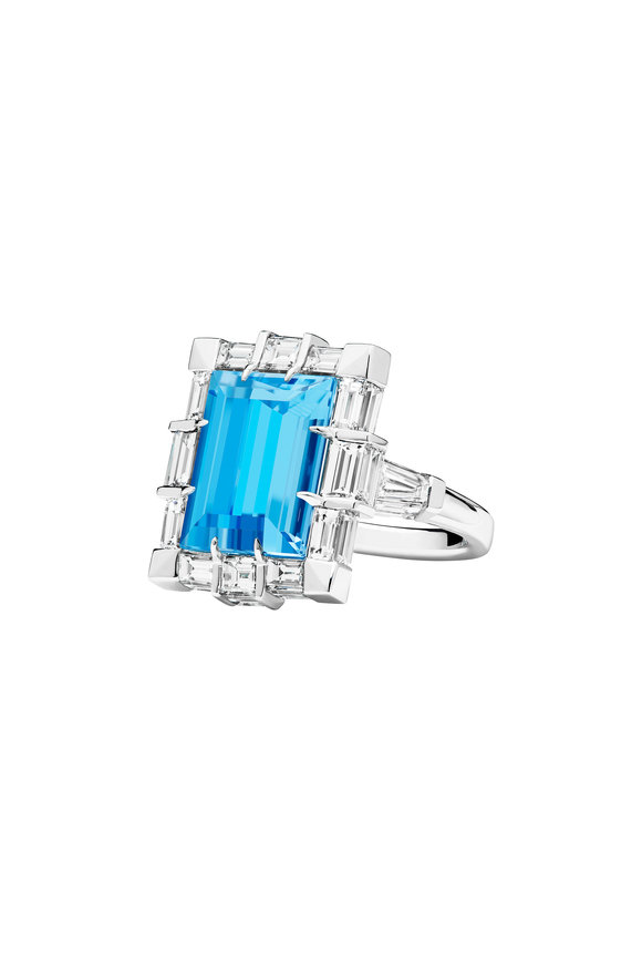 Paul Morelli 18K White Gold Aquamarine Cocktail Ring