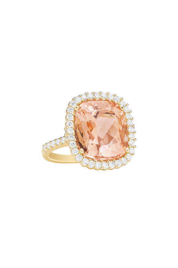 Paul Morelli 18K Yellow Gold Morganite & Diamond Pinpoint Ring