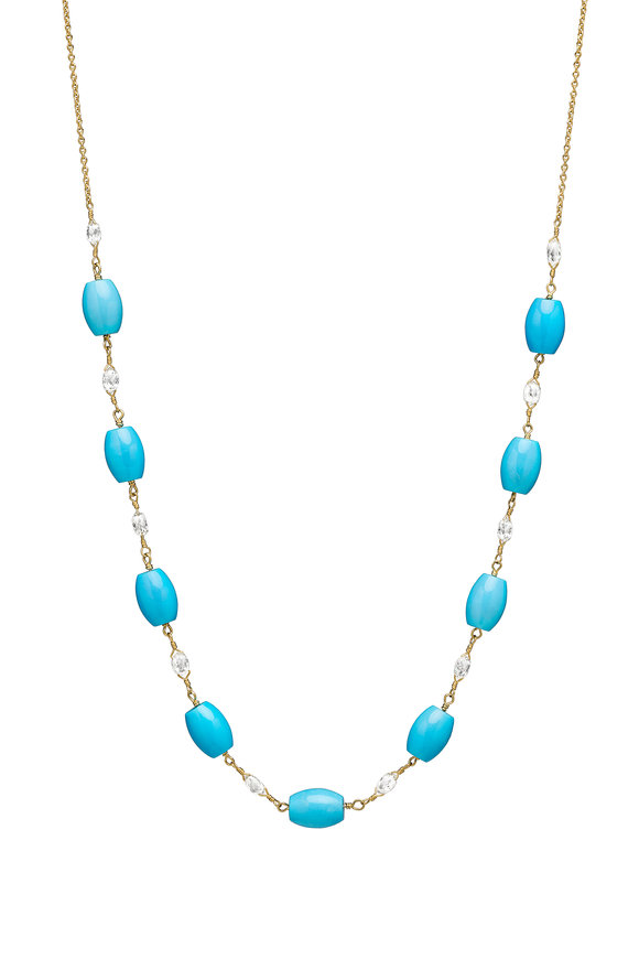 Paul Morelli 18K Yellow Gold Diamond & Turquoise Bead Necklace