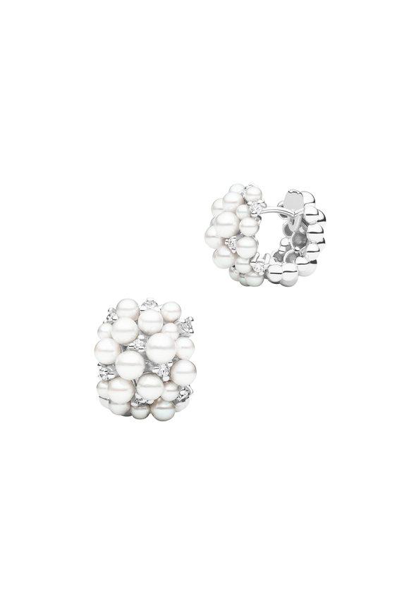 Paul Morelli 18K White Gold Pearl Snap Hoop Earrings