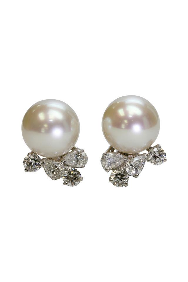 Platinum Sea Pearl Diamond Earrings