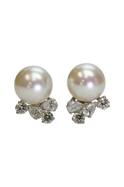 Assael - Platinum Sea Pearl Diamond Earrings