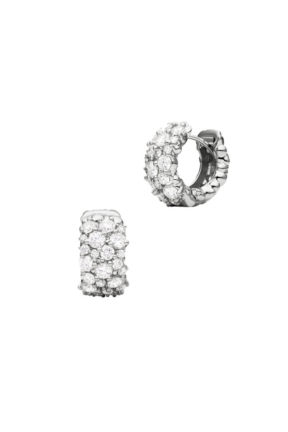 Paul Morelli 18K White Gold Confetti Snap Hoop Earrings