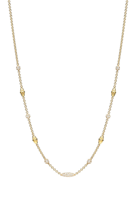 Paul Morelli 18K Yellow Gold Pipette Diamond Necklace