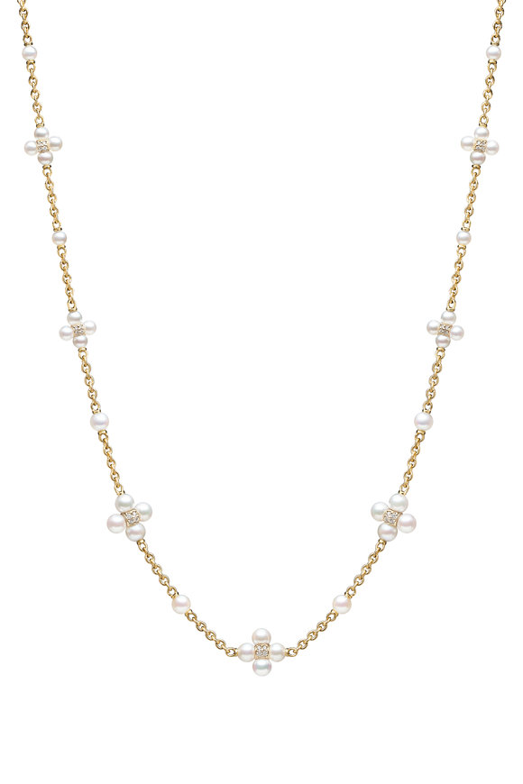 Paul Morelli 18K Yellow Gold Pearl & Diamond Sequence Necklace