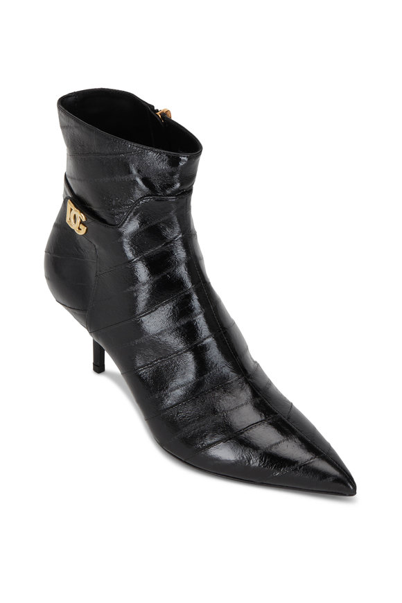Dolce & Gabbana Black Eel Pointy Ankle Bootie, 60mm