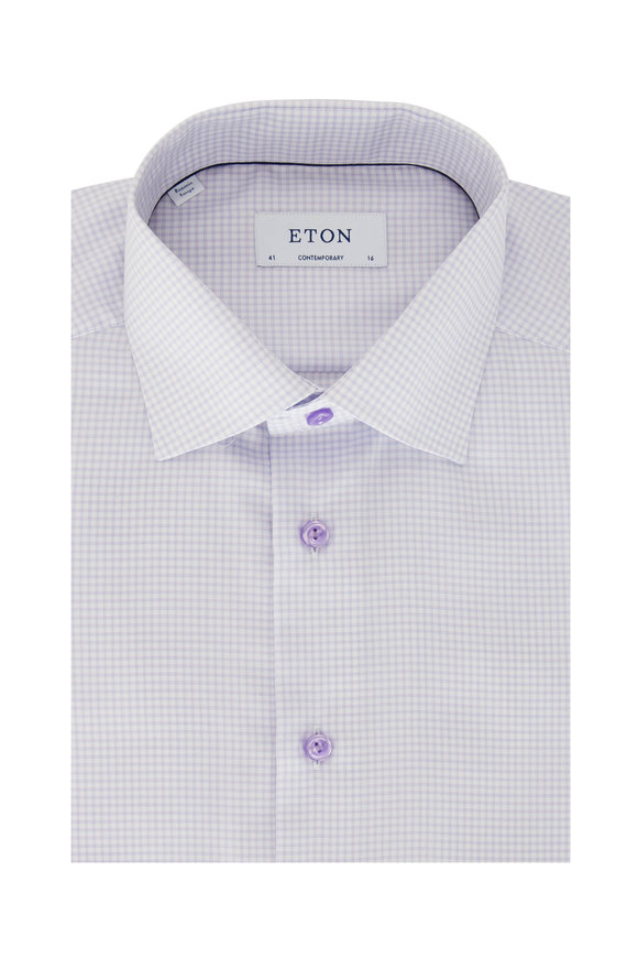 Eton Lavender Tattersall Contemporary Fit Dress Shirt
