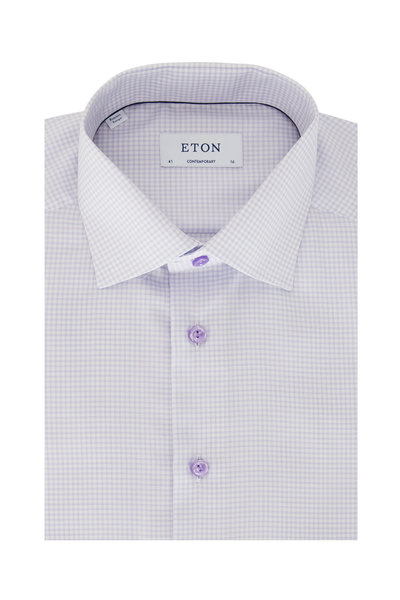 Eton - Lavender Tattersall Contemporary Fit Dress Shirt