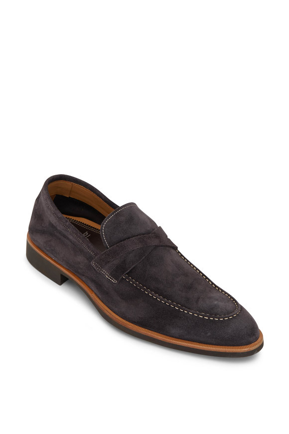 Di Bianco Velour Lavagna Gray Suede Loafer