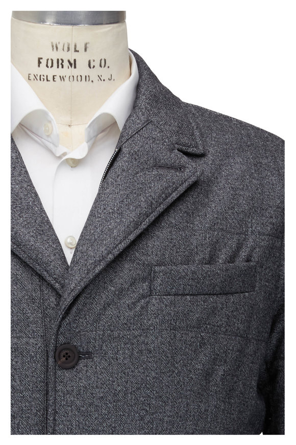 Canali Gray Chevron Water Repellant Quilted Blazer