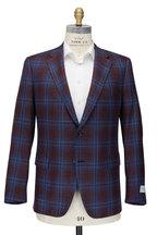 Samuelsohn - Dark Red & Navy Plaid Wool & Silk Sportcoat