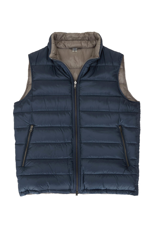 Herno Blue & Light Gray Reversible Puffer Vest