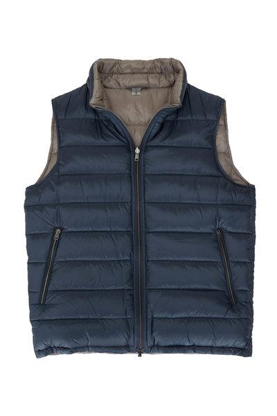 Herno - Blue & Light Gray Reversible Puffer Vest