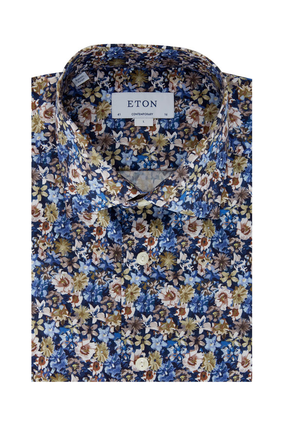 Eton Blue Multi Floral Contemporary Fit Dress Shirt