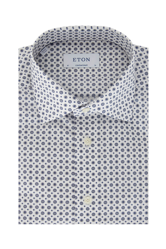 Eton Navy Blue Medallion Contemporary Fit Dress Shirt