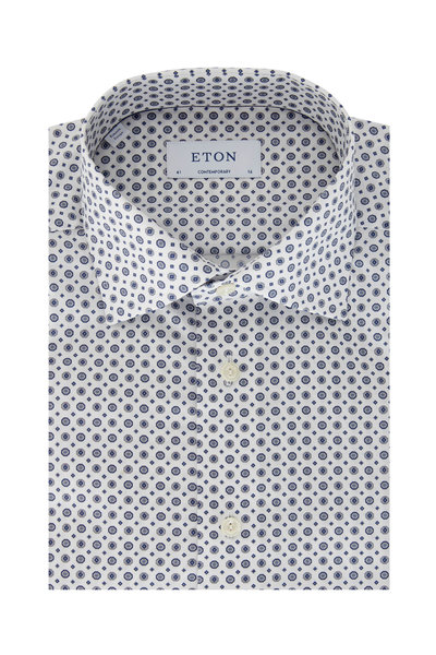 Eton - Navy Blue Medallion Contemporary Fit Dress Shirt
