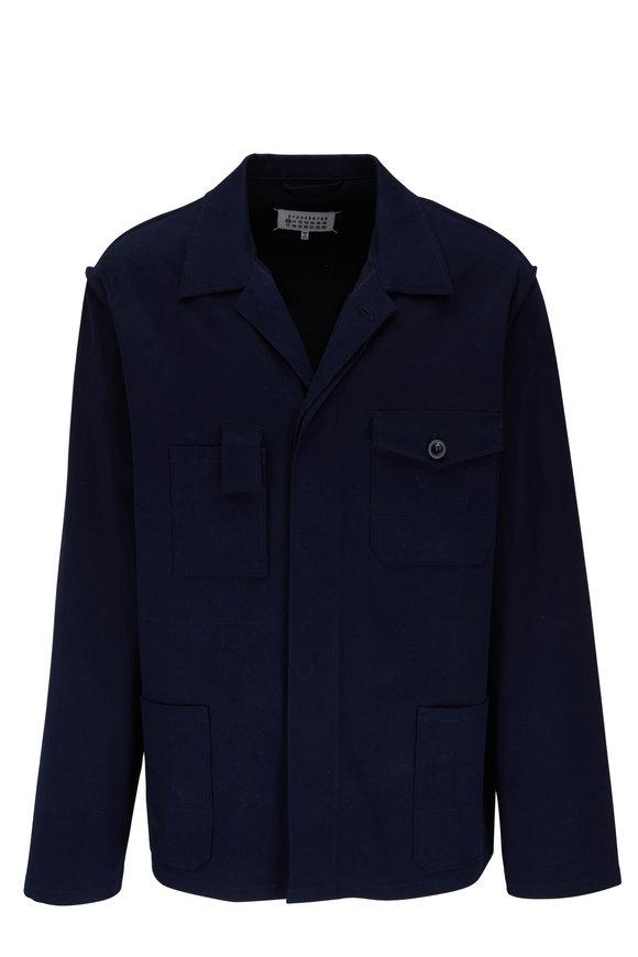 Maison Margiela Navy Felted Shirt Jacket