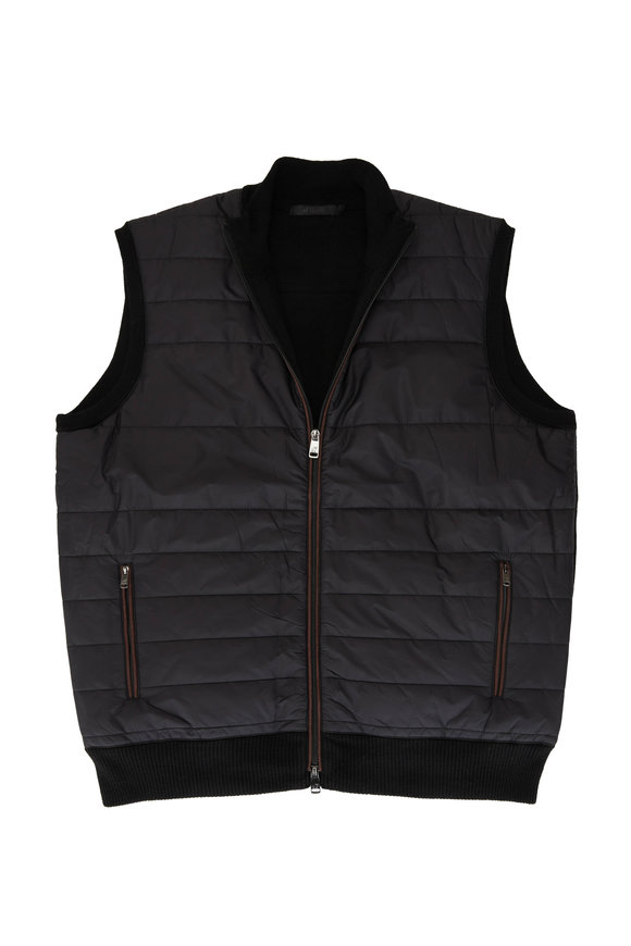 Raffi  Black Nylon Front Zip Quilted Vest