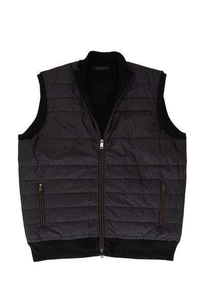 Raffi - Black Nylon Front Zip Quilted Vest