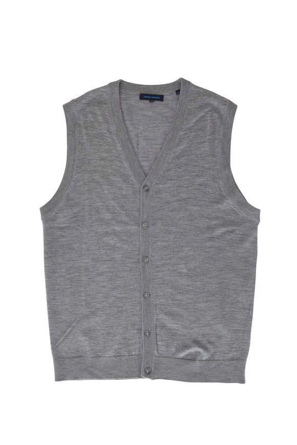 PYA Patrick Assaraf Mist Gray Extrafine Wool Button Front Sweater Vest