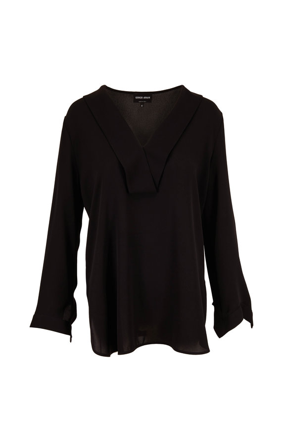 Giorgio Armani Black Silk Long Sleeve Blouse