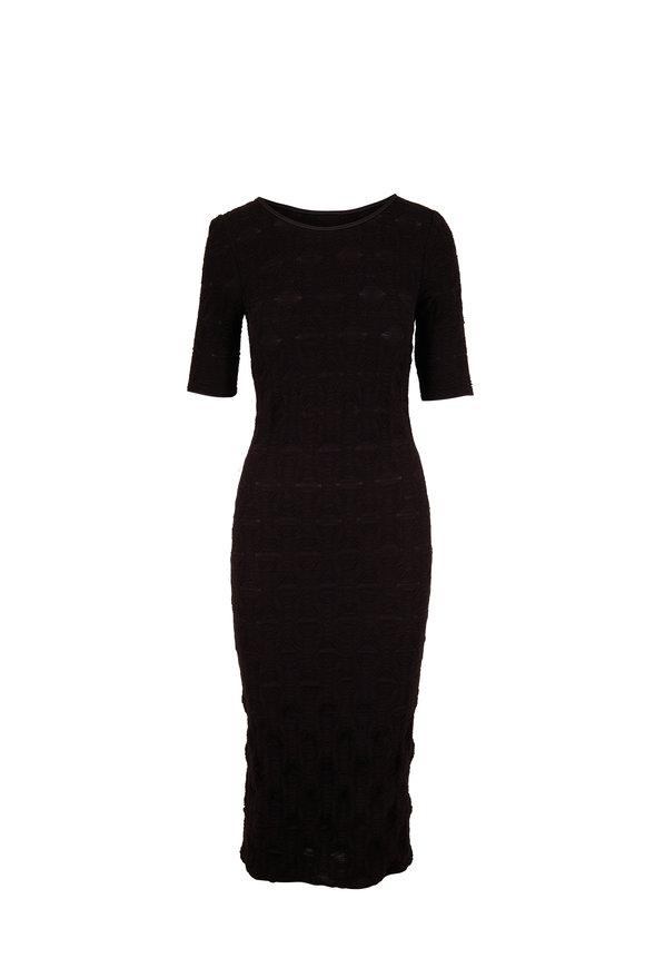 Giorgio Armani Black Textured Knit Jersey Elbow Sleeve Dress