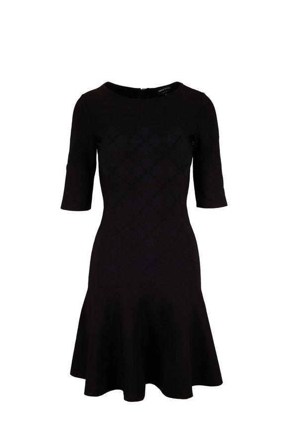 Giorgio Armani Black & Navy Argyle Intarsia Knit Dress
